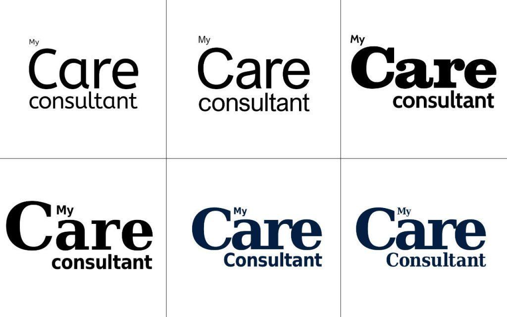 My Care Consultant logo development composite - fonts.